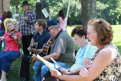 A group of musicians and former members of the St. Gregory Church choir perform country gospel songs, many of them improvised, at the Wickland 19th-Century Barbecue July 9. Pictured are, from left, Monica Wheeler, Dan Kelly, Joe Cissell, Grace Taylor and Donna Allen.