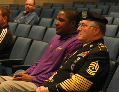 Sgt. Major Tony Rose sits beside fellow veteran Stevie Woodson, a special education teacher at Bardstown City Schools and veteran of the 101st airborne and 2nd and 138th National Guard. Rose was the featured speaker at Veterans Day events for Bardstown Middle and High Schools Friday morning. He made the students laugh, but he also spoke about the importance of hope, and recalled Sept. 11, 2001. On that day, he was in the Pentagon when it was hit by a plane. He re-entered the Pentagon five times to save people, and was awarded the Purple Heart.