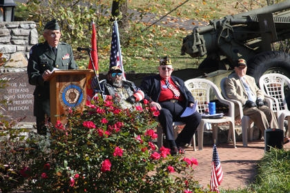 """Brig. Gen. Thomas Raymond Ice speaks to the crowd gathered at Veterans Park for the Bardstown Veterans Day Ceremony Friday morning. """"Each of us is better because of the influence of a veteran, and so is America,"""" Ice said. """"This is your day. This is our day to display our expression of gratitude and our expression of thanks for your service to this nation."""""""
