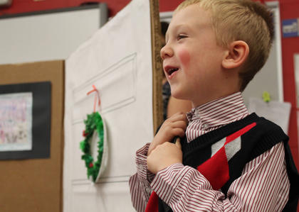 """Kindergartner Landen Lucas, also known as the Ten o' Clock Scholar, delivers his lines during a performance of """"The Christmas Box"""" in the class of Kristen O'Bryan at Bardstown Primary School Thursday."""