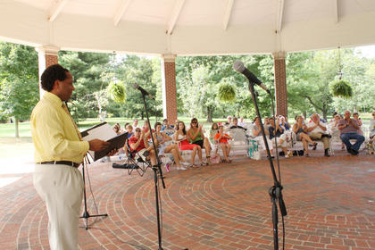 "William Anderson, Bowling Green, performs the song ""Nessun Dorma"" from ""Turandot"" at the annual Rotunda Show at My Old Kentucky Home State Park Sunday. Anderson is in his seventh season performing with the Stephen Foster Drama Association, and portrays Zeke in ""The Wizard of Oz"" this year."
