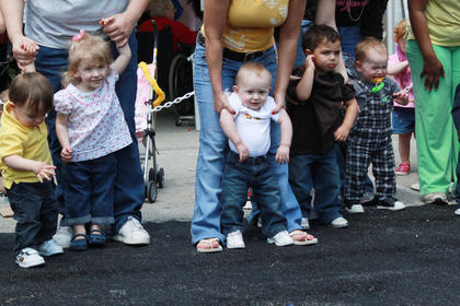 A Diaper Derby was just one of the events at the Flaget Baby Fair. There were categories for crawlers and walkers.