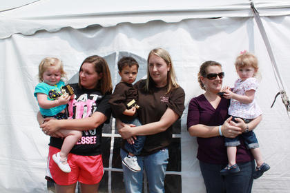Winners in the walking category were, from left, first place Ellie Craig, daughter of Courtney and Tommy Craig; second place Tristan Stone, son of Brandie Clark and Andre Stone; and third place Bailey Revelle, daughter of Steven and Jacinta Revelle.