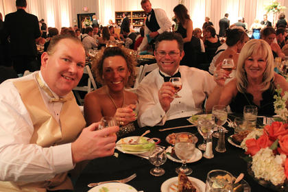Pictured from left, Dr. Bartley Klindt, Amy Klindt, Greg Mooneyhan and Melinda Mooneyhan, all of Bardstown, pose at the Great Kentucky Bourbon Tasting & Gala Saturday evening.