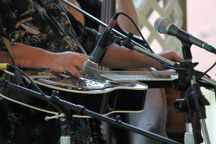 Mark Smith not only sings lead for Shades of Grass, but also plays the dobro. The Bardstown Bluegrass Festival at White Acres Campground on U.S. 62. The festival featured four bands on Friday and five on Saturday.