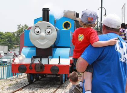 Thomas the Tank Engine, star of The Railway Series of books written by the Rev. W. V. Awdry and his son, Christopher Awdry, and of a television show based on the books, visited New Haven's Kentucky Railway Museum June 4. During the train's four-day visit June 4-5 and June 11-12, the event was expected to draw 14,000 people.