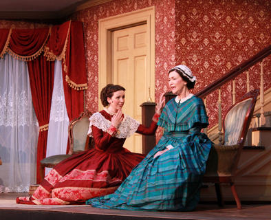 Mattie McDowell (Jane McIntire) advises her daughter, Jeanie (Taylor Coriell), to go with her head, not her heart, and marry Dudley, likely to be mayor one day, rather than Stephen Foster, a struggling songwriter.
