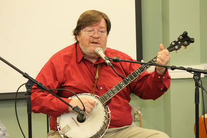 Jon Pickow, son of Kentucky folk music legend Jean Ritchie and a musician and music historian, performed at the second Sunday program at Nelson County Public Library's Bardstown location.