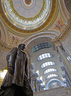 John McCubbin, Bloomfield, took this photo inside the rotunda of the state capitol building in Frankfort. It is a statue of Abraham Lincoln with portions of the dome and ceiling details in the background.