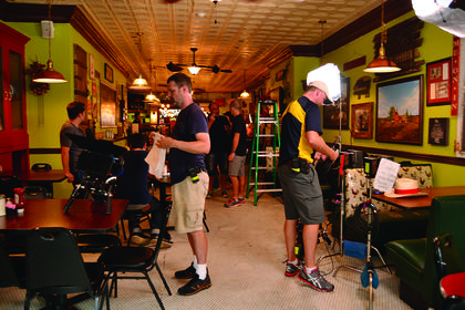 A film crew from The Learning Channel sets up at Mammy's Kitchen. The restaurant was been selected to be featured on TLC's The Famous Baker Brothers.