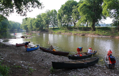 Boy Scout Troop 147 prepares to set off on a 5.5-mile ride down the Beech Fork River to collect trash for the seventh annual Paddle Pickup, hosted by the Bardstown Boaters.