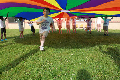 Bardstown Primary School students ran under the parachute when a color they were wearing was called out.
