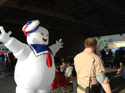 """The Stay Puft Marshmallow Man made an appearance at the Bardstown Farmers Market Friday for the screening of """"Ghostbusters"""" at Movies at the Market night, hosted by Next Generation Nelson County."""