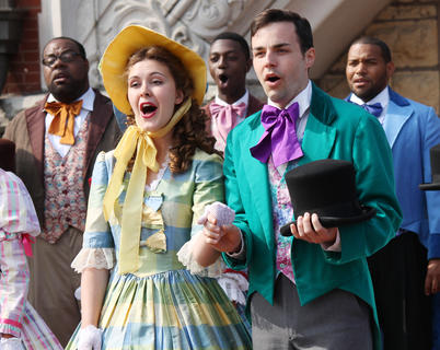 """Charlotte Campbell plays Jeanie McDowell, and Bronson Norris Murphy plays Stephen Foster in """"The Stephen Foster Story,"""" which opened its 55th season Saturday. At 10 in the morning, the cast kicked off The Stephen Foster Festival by singing on Court Square."""