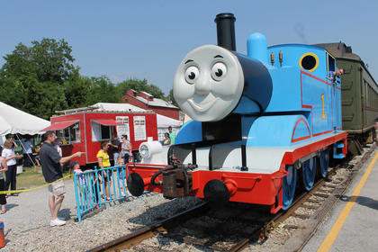 Thomas the Tank Engine,  the famous cartoon and storybook character, offered rides for children during New Haven's Day Out with Thomas Saturday.