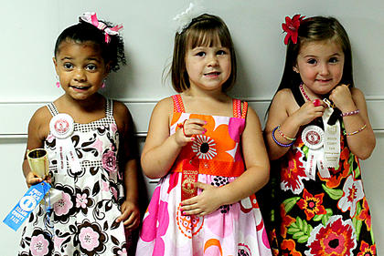 The winners in the Girls 37-48 month category were, from left, first place, Jazlene Gabriella Watkins, daughter of Carmen Watkins and David Crowe, Bardstown; second place, Abigail Renee Curtsinger, daughter of Angela Renee Curtsinger and Jeremy Scott, Boston; and third place, Kaydence Elizabeth Biven, daughter of Amy Harned and Brandon Bliven, Bardstown.