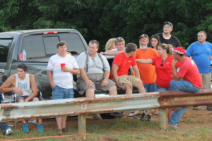 A crowd watches the tractor pull at the Nelson County Fair.