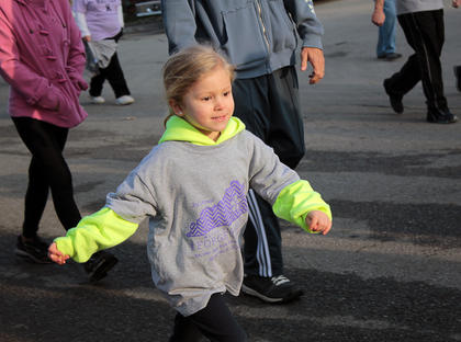 In honor of her great-grandmother Mary Blanford, who suffers from Alzheimers, 4-year-old Laken Blanford participates in the third annual Forget Me Not Fun Run.