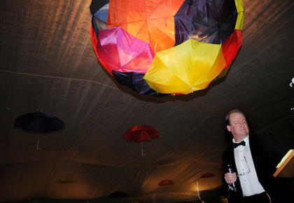 The Bethlehem High School gymnasium was decorated with umbrellas and the theme was Singin' in the Rain.
