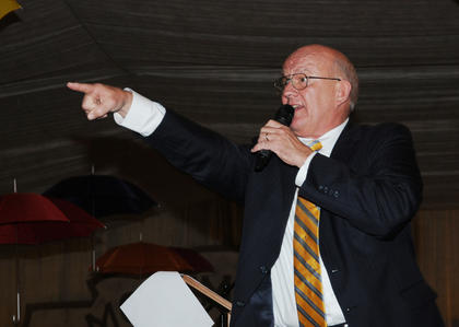 Auctioneer Steve Hale conducts an auction at Lights, Camera, Auction! at Bethlehem High School Saturday.