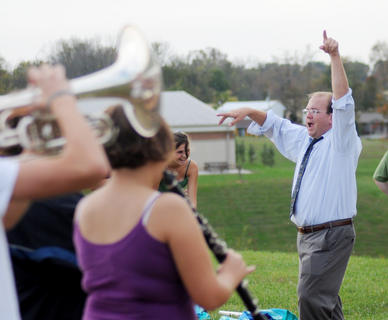 Nelson County band director Marc Monroe conducts members of the marching band after school Monday. Monroe, 39 students and 15 parents are going to New York City to march in the Veterans Day Parade in November with the help of donations. The band is still raising money.Nelson County band director Marc Monroe conducts members of the marching band after school Monday. Monroe, 39 students and 15 parents are going to New York City to march in the Veterans Day Parade in November with the help of donations. The band is still raising money.