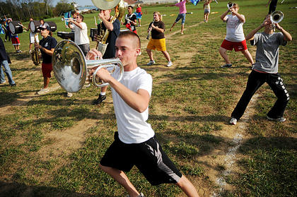 John Allender, Nelson County High School Band of Pride, practices after school Monday. Members of the marching band , 39 students and 15 band parents are going to New York City to march in the Veterans Day Parade in November with the help of donations. The band is still raising money.