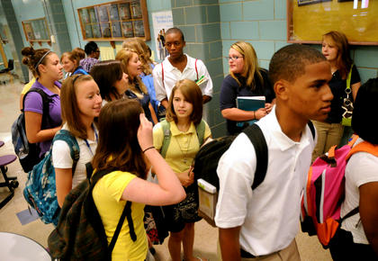 Bardstown High School students walk to their homerooms on the first day of school Wednesday.