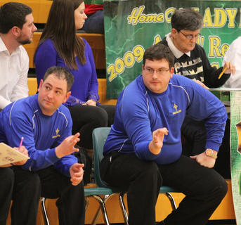 That's three! Bethlehem assistant coaches Corbin Hack (right) and Michael Holt let coach Artie Braden know that an Eagle player committed his third found during their team' 75-50 loss to Taylor County. Bethlehem finished the season with a 17-12 record.