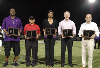 Bardstown High School honored its latest inductees into the Tiger Athletics Hall Of Fame last week. Pictured are Jamie Phillips, Sammy Wickliffe, Elisha Railey, Mark Mathis and Donnie Dobbs.