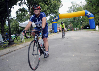 Kevin Williams, Louisville, completed the 100-mile route from Louisville on the Old Kentucky Home Bike Tour Saturday. He started at E.P. Tom Sawyer Park and went to Bloomfield, Mackville and to Bardstown on Pottershop Road.