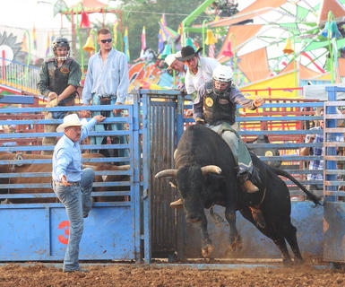 The bull riding competition, featuring the cowboys of the Southern Extreme Bull Riding Association, is always one of the more popular spectator events at the Nelson County Fair.