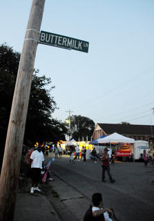 Trafic was blocked at South Third Street and Buttermilk Lane during the 2011 Buttermilk Days Festival Saturday.