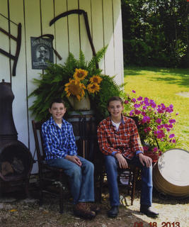 Nathan and Travis Cambron having a fun day taking pictures at the home of their grandparents, Theresa and Gary Clark. The photo was taken by their mother, Valerie Cambron.