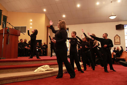The Bardstown Church of God Liturgical Dancers, directed by Tiffany Brock and Marissa Thompson, performed at Monday's celebration of Martin Luther King Day at St. Monica Catholic Church in Bardstown.