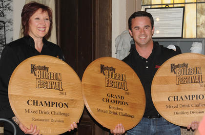 """Pilar Zeglin, Cincinnati, won the restaurant division with her drink, """"The Perfect Summit."""" Kevin Didio, ambassador from Maker's Mark, won the Mixed Drink Challenge and the distillery division."""