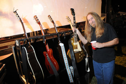 Greg Martin, The Kentucky Headhunters, shows off his Gibson gold-top guitar backstage moments before the Kentucky Headhunters take the stage.