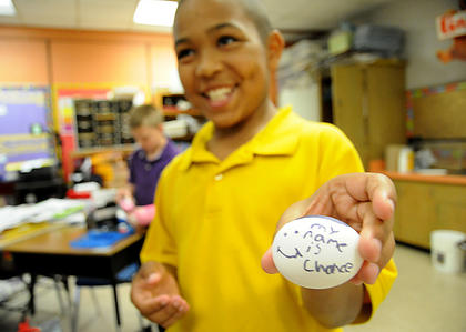 "Chance Smaller, a fourth-grader at Bardstown Elementary, named his egg ""Chance."" Students in Andrea Greer's fourth-grade class were given an egg and told to build a contraption that would overcome earth's force of gravity and protect the egg from breaking. Students were given the option to decorate their eggs. They dropped their eggs last week at the school. Greer said this was the 10th year for the project."