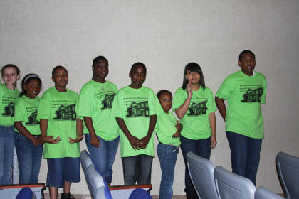 Youth of Evergreen Missionary Baptist Church, Lexington prepare to take the stage at the Gospel Explosion.