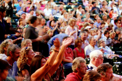 The crowd cheered for Exile Monday night at the J. Dan Talbott Amphitheatre.