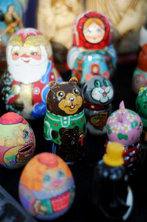 "Matryoshka dolls, or ""nesting dolls,"" are sold by a vendor near Spalding Hall Saturday."