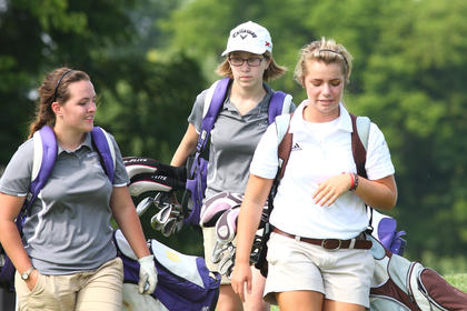 Bethlehem senior Stewart Montgomery, right, and Bardstown junior Bailey Kellem, left, and eighth-grader Libby Hagan, center, head off to the next hole during a match Wednesday at Bardstown Country Club at Woodlawn Springs.