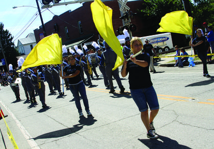 The Thomas Nelson High School band performs during the parade at the Rolling Fork Iron Horse Festival in New Haven Saturday.