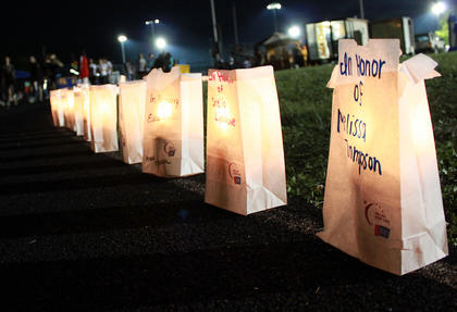 Luminaria line the Bardstown High School track as night falls on the May 13 Relay for Life event. Each luminary represents a person who is battling cancer, has survived cancer or died from cancer, Relay Chairperson Anita Westrup said.