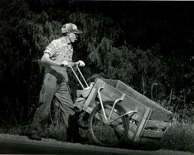 Daniel Pritchard of Bardstown was determined to fill his wagon with aluminum cans as he pushed his cart along Ky. 245 (published Nov. 7, 1983, in The Kentucky Standard).