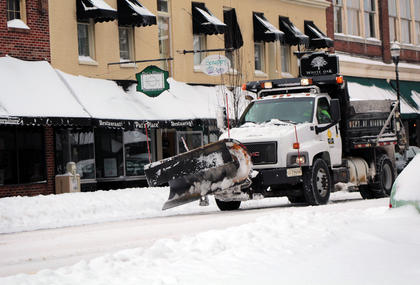 Plows and other machines were visible throughout the day Thursday as workers prepared to clear roadways.
