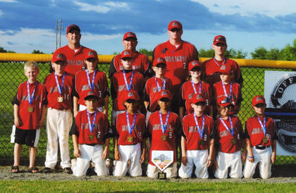 The Nelson County U9 Mustangs were champs of their division in the Officer Jason Ellis Memorial Baseball Tournament last month. The team donned uniforms and caps matching those worn by Ellis during his stint with the minor league Billings Mustangs in Montana. Team members include (front) Cam Porter, Preston Hall-Pointer, Dontaye Tinnell, Charlie Evans, Bob Skaggs, Lincoln Boone, (middle) Barret Riley, Will Johnson, Bryce Riley, Tyler Hudson, Lawson Strenecky, J.T. King, Jordan Brady, (back) and coaches Daryl Porter, Brandon Riley, Reece Riley and Jason Hudson
