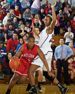 Nelson County's LeLe Linton looks for driving room against Elizabethtown's Reauna Cleaver in Saturday's 5th Region championship. The Panthers scored a 66-38 win to eliminate the Cardinals and advance to Western Kentucky University's Diddle Arena for the KHSAA Sweet 16.