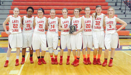 The Nelson County Cardinals were girls' JV district champs. Team members include Jade Coulter, LeLe Linton, Courtney Nichols, Taylor Young, Lakin Walls, Madison Higgs, Morgan Cheatham, Jordan Stallings and Kira Harman.