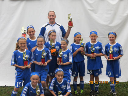 The NCYSA U10 Nelson Elite Heat were finalists in the Kentucky Fire Junior Invitational tournament Sept. 28-29, the team's first tournament since its inception. Playing in the Premier division of the tournament and facing teams from Indianapolis, Paducah, and Louisville's own Javanon, the team went 3 - 0, getting themselves to the championship and falling short to Kings Hammer Academy from Wilder. Team members include (front) Brooklyn Blair, Gretchen Bishop, (second row) Rebecca Lee, Kadence Walls, Hailey Gore, (third row) Evva Schmitz, Courtney Roberts, Kaitlyn Rowlett, Perry Hagan and Emily Hines, and (back) coach Kurt Schmitz.