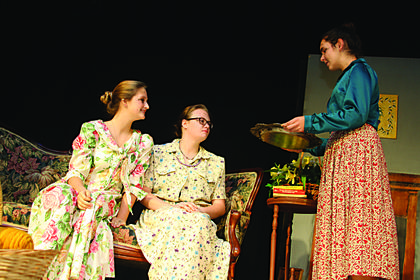 """A scene from the dress rehearsal of the Thomas Nelson High School production of """"Not My Cup of Tea"""" at the Bardstown Civic Center."""